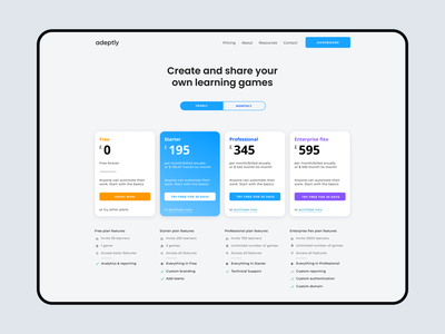 Subscription page adeptly london gradient spacing border radius button clean ui pricing subscription