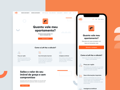 Quanto Vale Meu Apartamento? landing page call to action navigation menu white space gray web design web apartment orange real state clean app illustration responsive design