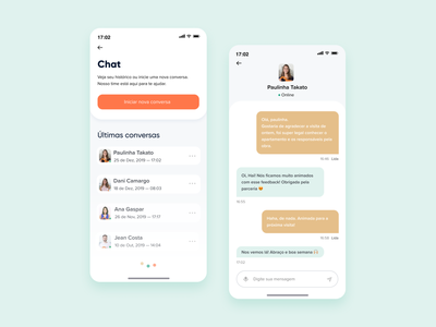 Renovation Progress chat app chatbot icons house home listing loading online chat call to action button border radius ui gradient color real state app apartment orange clean