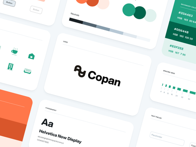 Copan - Base Components tokens buttons spacings helvetica branding design branding icons atomic design cards real state building design tokens copan ui ux uiux design system components