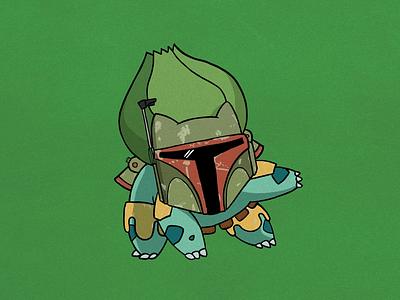 Bulba Fett procreate bulbasaur boba fett character design illustration starwars pokémon