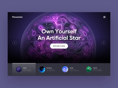 Planestate - Website Interaction Concept ux space universe planets stars product landing page web design interaction animation website interface web grid ui typography inspiration design minimal