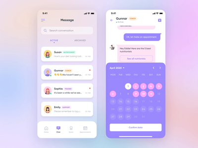Chatbot Concept • Book A Nutritionist appointment booking calendar schedule ux interaction design interaction mobile minimal ui product design product animation design