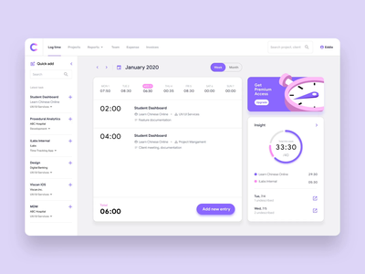 Time Logging Interaction | Project Management App animation interface website web design motion interaction app product ux ui task datepicker project management log tracking time dashboard