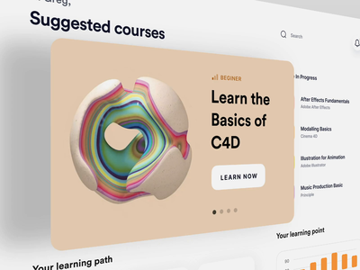 3D Courses Management Dashboard courses managment online learning course 3d c4d dashboad product interaction ux animation website interface web ui minimal design