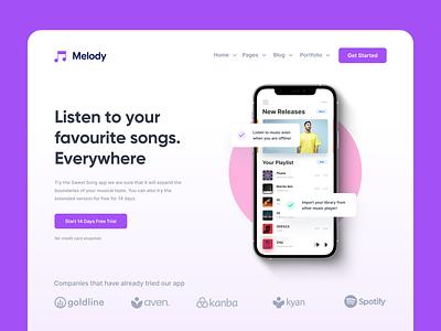 Music App Landing Page purple pink colorful clean landing page mobile website streaming app music branding web typography inspiration ui minimal design
