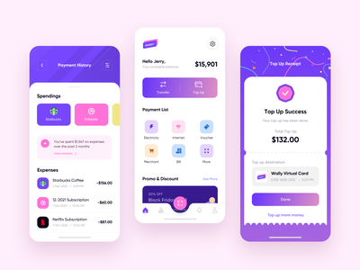Digital Wallet UI concept ux banking app mobile money e-wallet wallet digital pink typography inspiration ui minimal design
