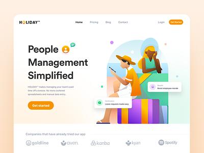 Leave management app | Landing page concept landing page clean illustration typography grid web inspiration minimal design ux