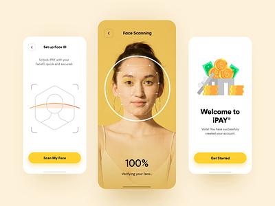 Face Verification Interaction for E-Wallet animation interaction wallet digital ewallet scan face face verification face id mobile app ux inspiration minimal design ui