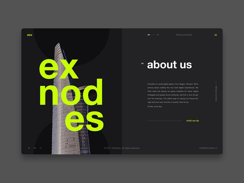 Exnodes - Digital agency - About us Page ux ui typography square simple responsive portfolio minimal fluent grid flat design