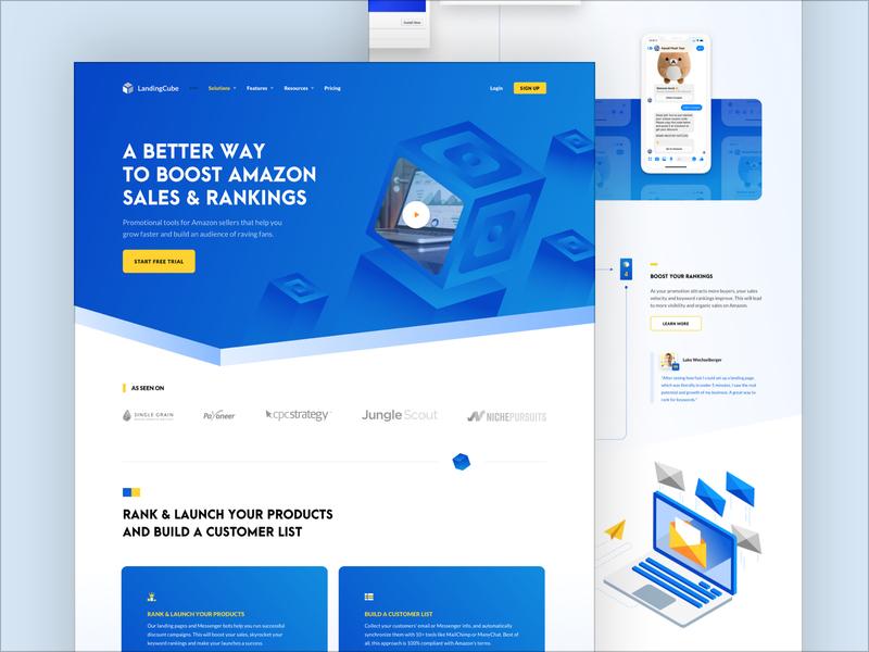 Landing Cube - Homepage design ui minimal grid web illustration isometric website blue digital typo typography inspiration homepage home amazon sales ads