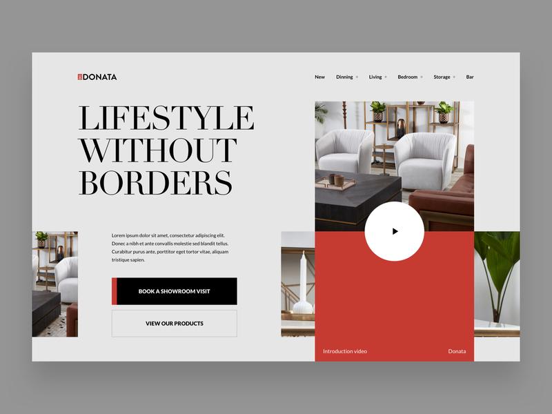 Donata | Hero Exploration hero header design inspiration minimal ui web website furniture typography grid swiss design swiss
