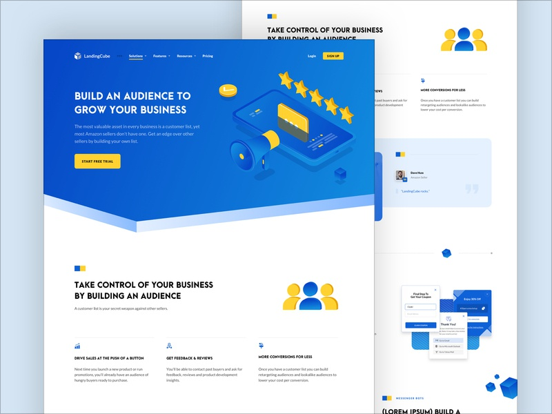 Landing Cube - Solutions / Audience solution solutions audience sales amazon design minimal grid illustration isometric website web blue ads digital typo typography rankings ranks inspiration