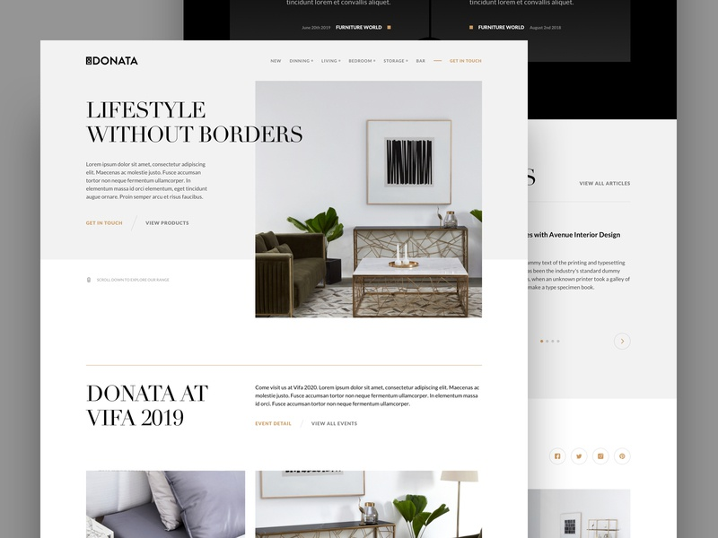 Donata Furniture | Homepage Exploration 5 hero header design inspiration minimal ui web website furniture typography grid swiss design swiss
