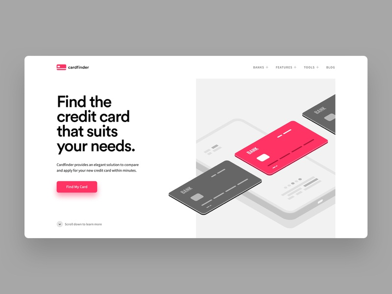 Cardfinder Homepage typo interface hero header website web ui grid inspiration typography minimal design