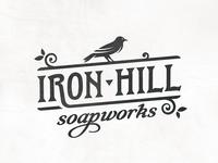 Iron Hill Soap Company lockup leaf typography logo hill iron soap vintage bird
