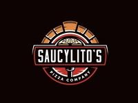 Saucylito's Pizza sign brick oven pizza lockup vintage logo typography
