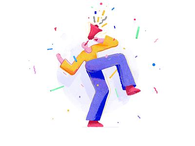 Yungfrish Soundboard Illustration illustration art illustrator poppy colorful fasching carneval watercolors drawing figuredrawing figure noise loud megaphone fun vector illustration