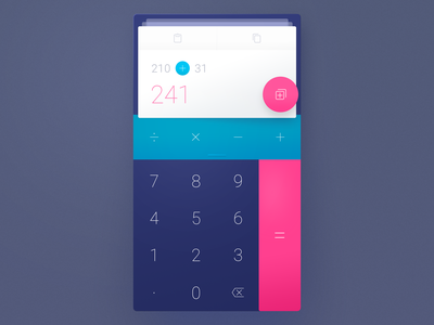 Calculator 2.0 weekly ui history transition tinder swipe cards colorful scientific math calculator ux ui