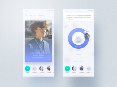 Relacio Contact Management blur translucence overlay dragging interface design ui ux contact book bubbles circle circles rings cards swipe tinder groups contact contact management