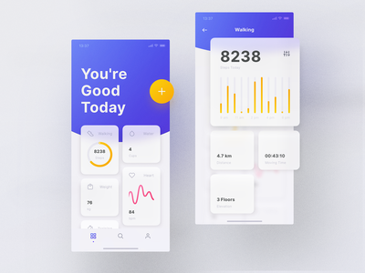 Mellow Theme Fitness cards colorful typography headline translucent shadow debut purple blue background blur blur sport add design ui ux mellow tiles workout fitness