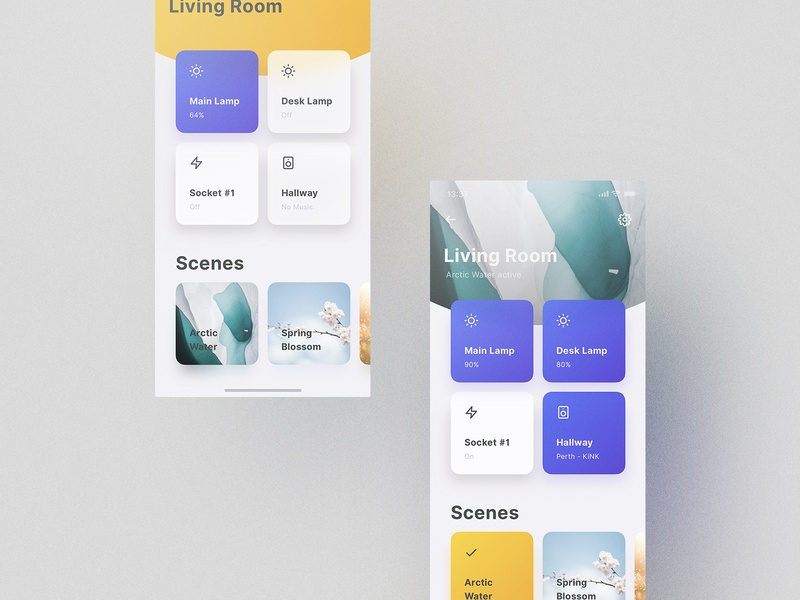 Mellow Theme Smart Home grid tiles photography animation motion interaction interface experience philips hue smart home home smart cards ux ui design