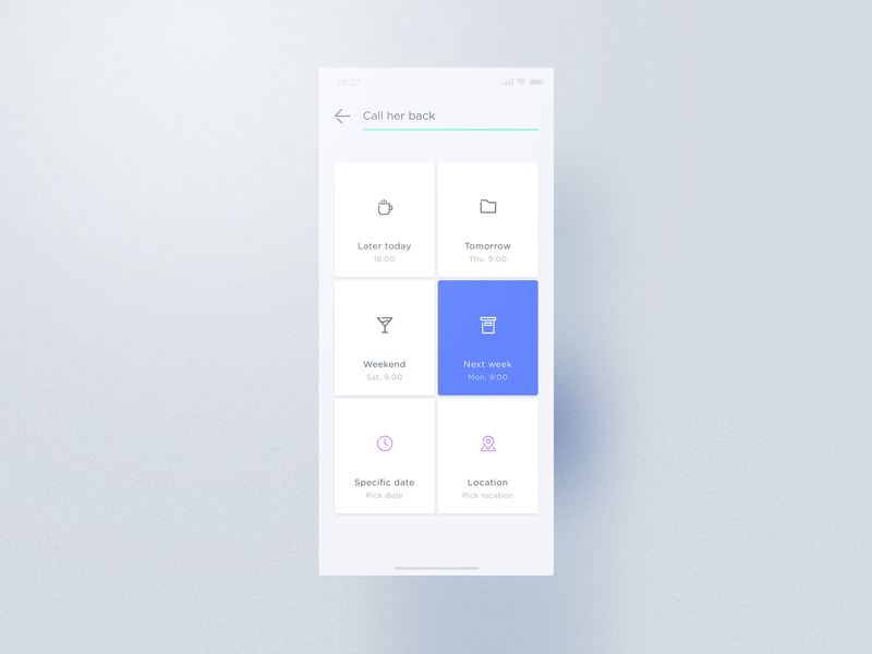 Relacio Reminder icon vector artwork art tight clean minimal floating cms contact management relacio tiles typography colorful cards ux ui design