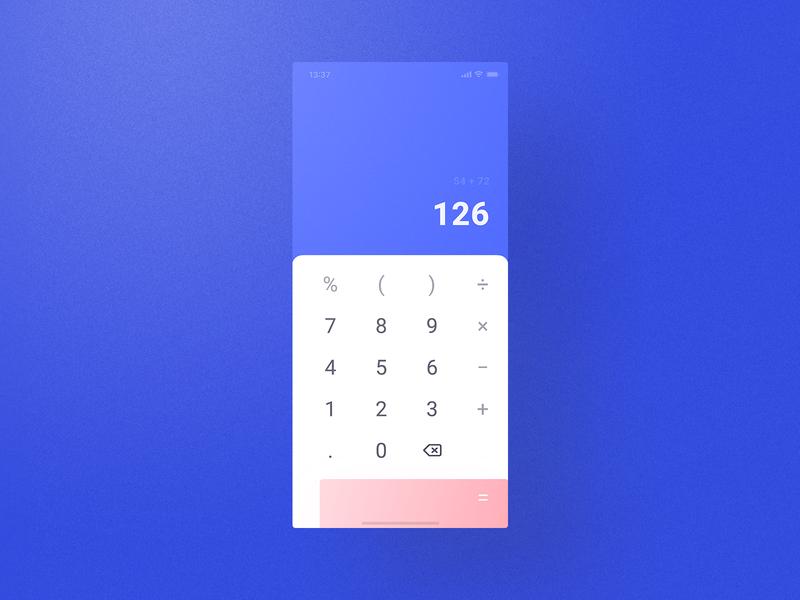 Cream Theme Calculator calculation calculate simple minimal math numbers calculator app daily blue visual design ui ux user interface user experience calculator