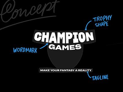 Champion Games visual identity brand identity calligraphy identity type hand lettering logo wordmark branding logotype typography lettering