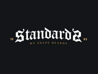 Standards barber beard black letter wordmark logotype logo mark vintage typography type blackletter