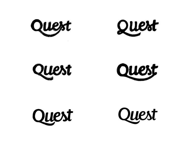 Quest process logo design hand lettering custom logotype branding brush wordmark script logo typography type logotype lettering