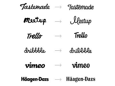 Redesigning known brands challenge custom logotype handlettering calligraphy logo design hand lettering identity type branding wordmark logotype lettering logo typography