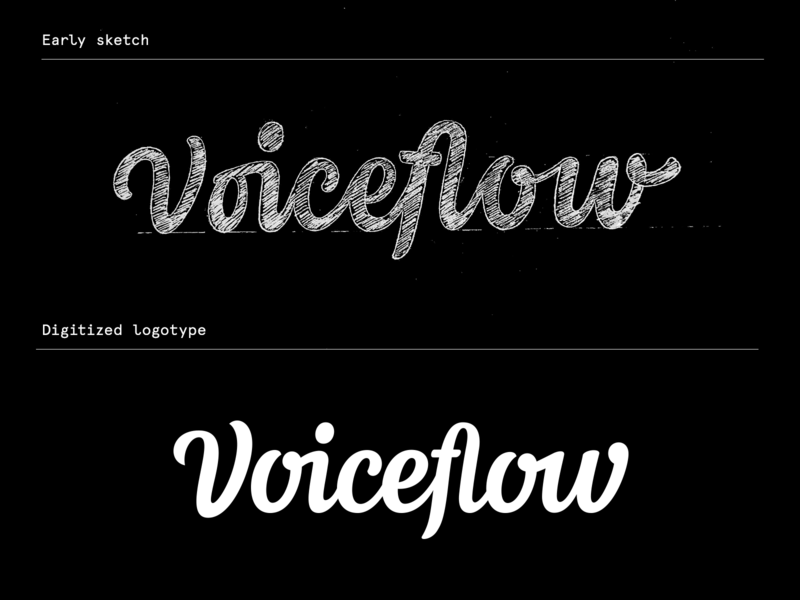 Voiceflow - Process logo design type sketch script calligraphy hand lettering identity logo wordmark logotype lettering typography branding