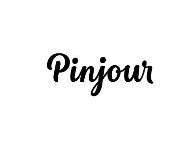 Pinjour - Custom Wordmark logo design identity script calligraphy hand lettering type branding mark wordmark logotype lettering logo typography