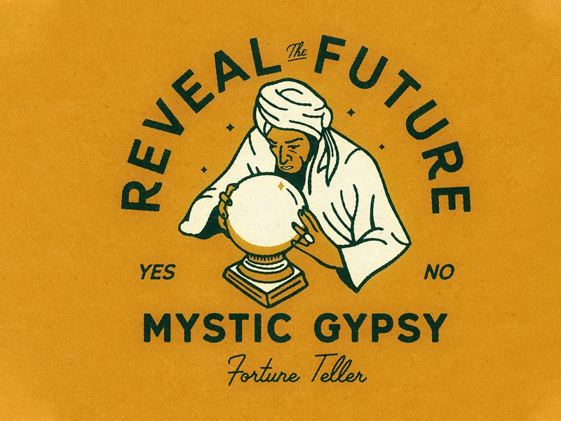 Mystic Gypsy Fortune Teller design vector illustrator typography logo graphic design illustration