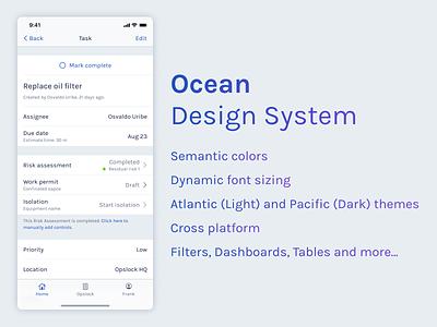 Ocean Design System interface design branding ux ui design system