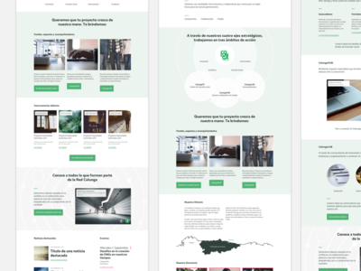 Colunga about landing homepage green grey red ux ui