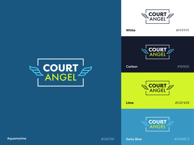 Court Angel Logo tennis court teal blue branding logo sport interface flat design app