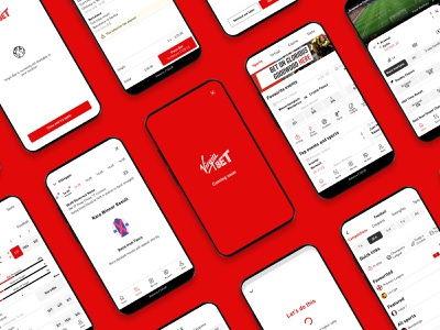 Virgin Bet app ui clean red football soccer sport gambling betting