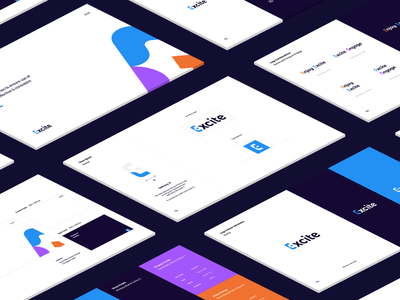 Excite Guidelines isometric clean logotype clear space blue corporate branding guideline brand logos
