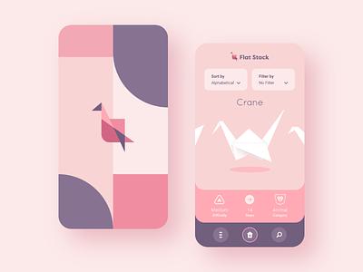 Flat Stack Home pastel mobile brand origami crane pink logo interface ux vector ui app flat branding