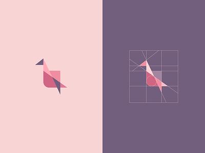 Flat Stack Symbol graphic design pastel bird icon symbol mark grid crane logo vector design flat app brand branding