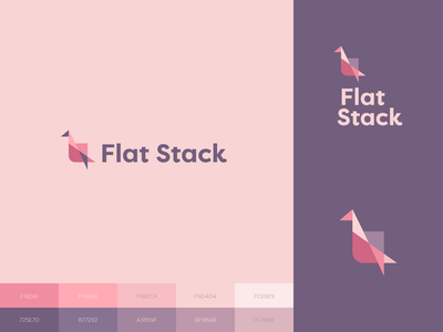 Flat Stack Logo pink purple design graphic ui app pastel typography origami logo branding brand