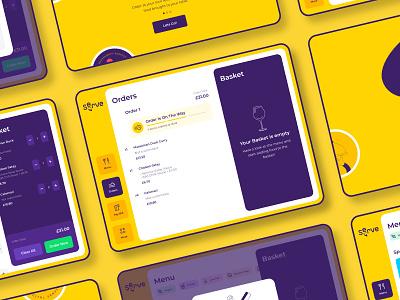 Serve Dashboard service tablet deliveroo restaurant food uber delivery yellow dashboard ui app