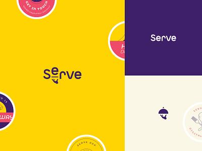 Serve Logo font symbol branding service serve sticker design uber delivery food restaurant yellow logo