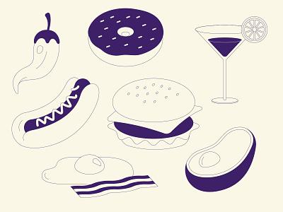 Serve Illustrations illustrator bacon egg chilli cocktail doughnut hotdog avocado burger food simple organic line vector illustration greige