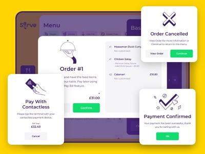 Serve Popups cta yellow deliveroo uber delivery restaurant food cancelled contactless confirmation pop-up buttons illustration flat ui app