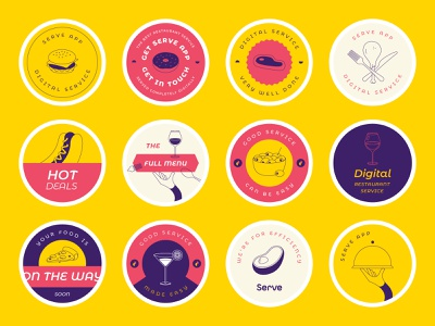 Serve Stickers avocado burger pattern app illustration design branding circle round stamp deliveroo uber delivery food purple red yellow badge coasters stickers