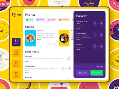 Serve App drinks order service tablet dashboard thai restaurant food menu sticker red yellow uber delivery illustration brand ui design branding app