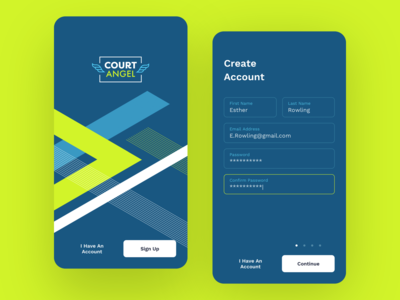 Court Angel Tennis App: Sign Up